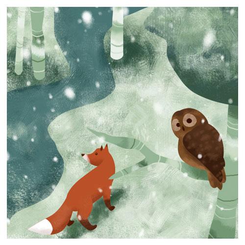 Illustration Fuchs im Schnee