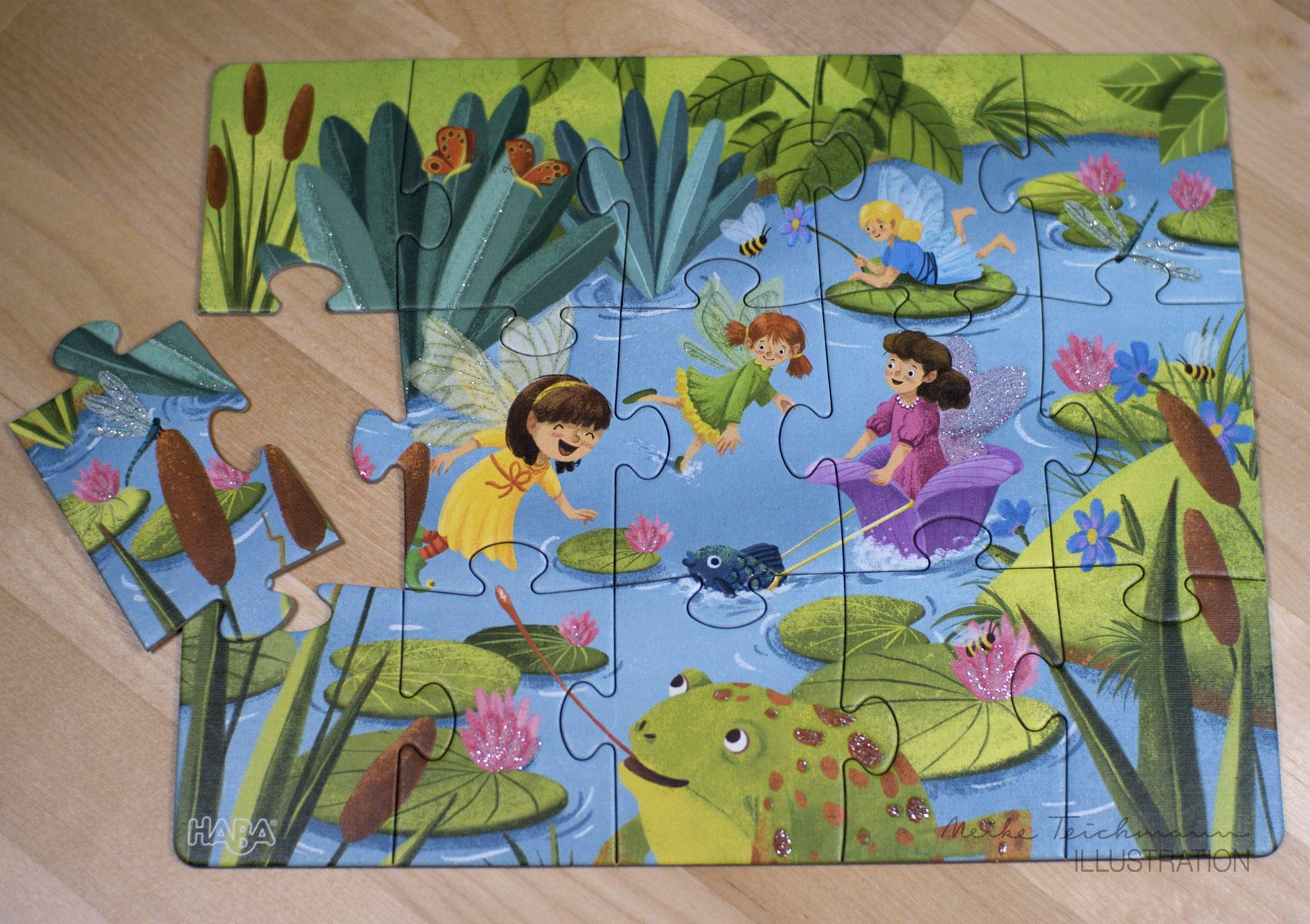 Puzzle-Set mit süßen Glitzerfeen